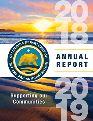 CDTFA's 2018-2019 Annual Report cover, Supporting our communities