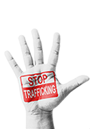 Opened hand with the words Stop Trafficking